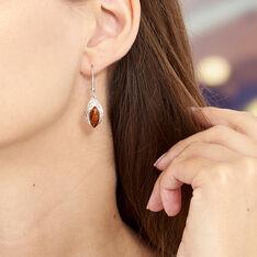 Boucles D'oreilles Pendantes Enya Argent Blanc Ambre - Boucles d'oreilles Pendantes Femme | Marc Orian