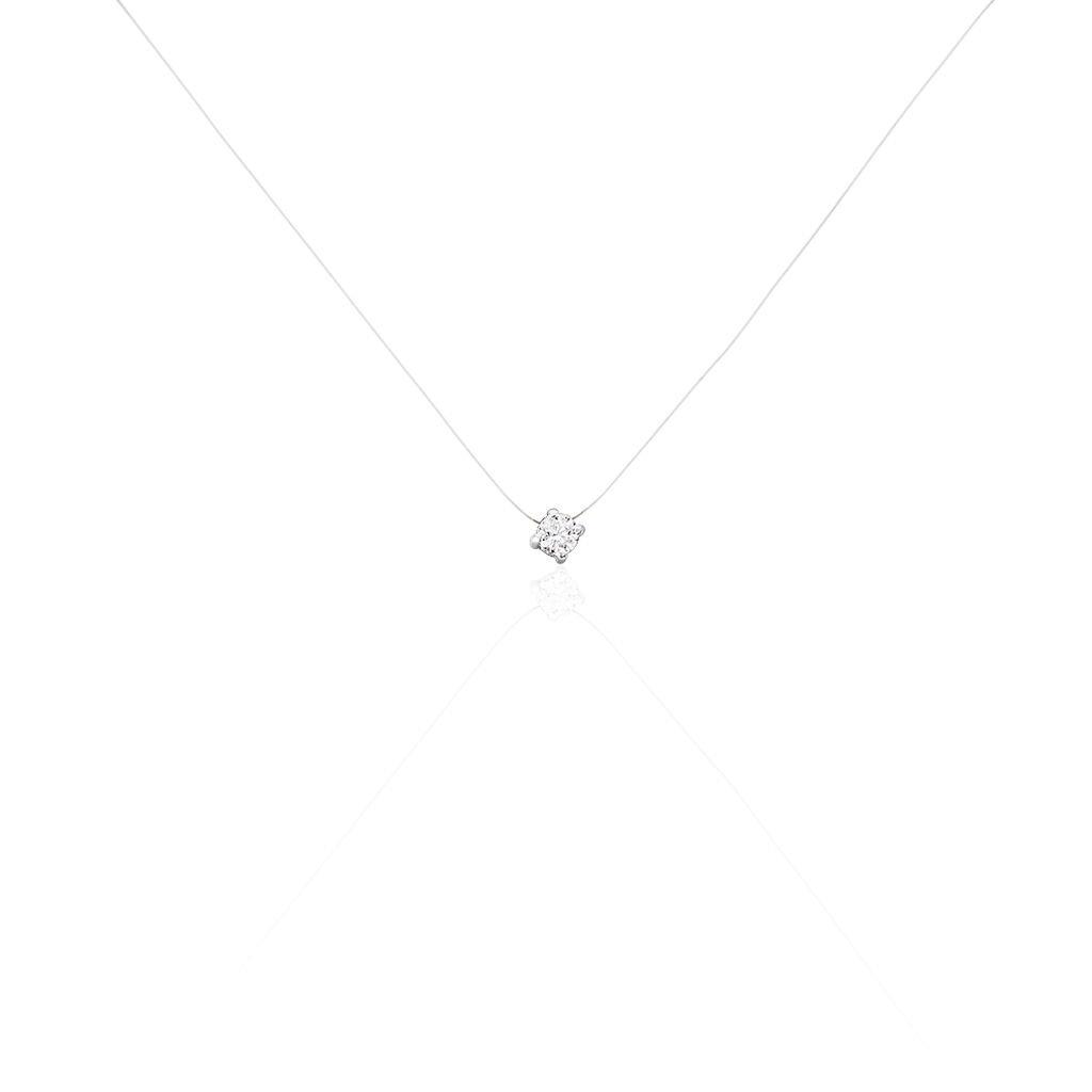 Collier Nylon Argent Blanc Oxyde De Zirconium - Colliers Femme   Marc Orian