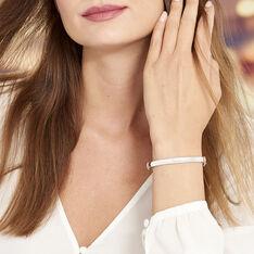 Bracelet Jonc Thaira Argent Blanc - Bracelets jonc Femme | Marc Orian