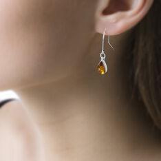 Boucles D'oreilles Pendantes Alanna Argent Blanc Ambre - Boucles d'oreilles Pendantes Femme | Marc Orian