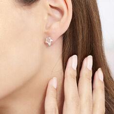 Boucles D'oreilles Puces Alphonsine Etoile De Mer Or Blanc - Clous d'oreilles Femme | Marc Orian