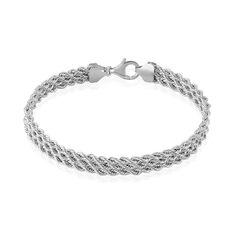 Bracelet Jerry Maille Corde 3 Rangs Or Blanc - Bracelets mailles Femme   Marc Orian
