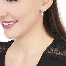 Boucles D'oreilles Pendantes Taissia Or Blanc Perle Culture Et Oxyde - Boucles d'oreilles Pendantes Femme | Marc Orian