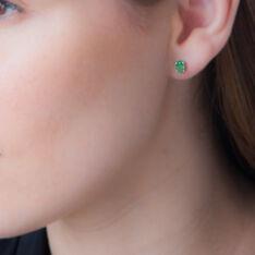 Boucles D'oreilles Puces Ovale Or Blanc Emeraude - Clous d'oreilles Femme | Marc Orian