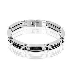 Bracelet Nicolas Maille Rectangulaire Acier Blanc - Bracelets chaînes Homme | Marc Orian