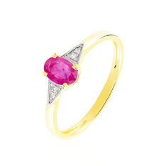 Solitaire Or Jaune Ludmilla Rubis Diamant - Bagues Femme | Marc Orian