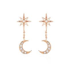 Boucles D'oreilles Pendantes Lannah Argent Rose Oxyde De Zirconium - Boucles d'oreilles Pendantes Femme   Marc Orian