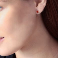 Boucles D'oreilles Puces Ovale Or Jaune Rubis - Clous d'oreilles Femme   Marc Orian
