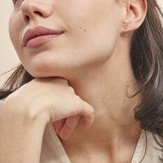 Boucles D'oreilles Puces Eleanor Fleur Or Jaune Oxyde De Zirconium - Clous d'oreilles Femme | Marc Orian