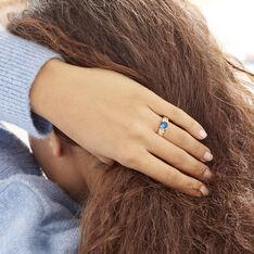 Solitaire Plaque Or Maloe Oxyde De Zirconium Bleu Central Accompagne - Bagues Solitaire Femme | Marc Orian