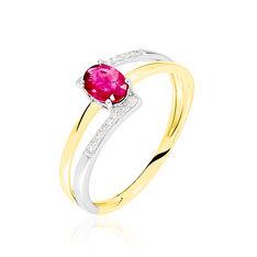Bague Or Bicolore Rubis Et Diamant - Bagues Femme | Marc Orian