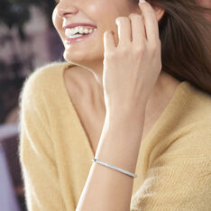 Bracelet Jonc Clélya Argent Blanc Oxyde De Zirconium - Bracelets jonc Femme   Marc Orian