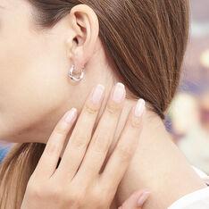 Creoles Argent Rhodie Diamantees - Boucles d'oreilles Créoles Femme | Marc Orian