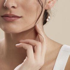 Boucles D'oreilles Pendantes Carrine 2 Fils Or Jaune Perle De Culture - Boucles d'oreilles Pendantes Femme | Marc Orian