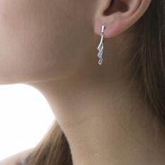 Boucles D'oreilles Pendantes Audrey Or Blanc Diamant - Boucles d'oreilles Pendantes Femme | Marc Orian