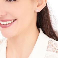 Boucles D'oreilles Puces Fatiana Or Blanc Diamant - Clous d'oreilles Femme   Marc Orian
