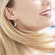 Boucles D'oreilles Pendantes Carrine 2 Fils Or Jaune Perle De Culture - Boucles d'oreilles Pendantes Femme   Marc Orian