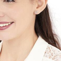 Boucles D'oreilles Puces Papillon Or Blanc Diamant - Clous d'oreilles Femme | Marc Orian