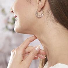 Boucles D'oreilles Argent Rhodie Nathalie Demi Lune Oxyde - Boucles d'oreilles Pendantes Femme | Marc Orian