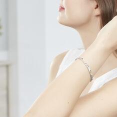 Bracelet Identité Cleona Maille Alternee 1/3 Argent Blanc - Gourmettes Femme | Marc Orian