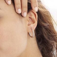 Créoles Asael Argent Rose - Boucles d'oreilles Créoles Femme | Marc Orian