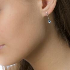 Boucles D'oreilles Pendantes Goutte Or Blanc Topaze - Boucles d'oreilles Pendantes Femme | Marc Orian