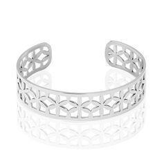 Jonc Acier Milda Ajoure Fleurs - Bracelets jonc Femme   Marc Orian