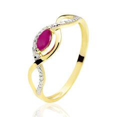 Bague Ondulation Or Bicolore Rubis Et Diamant - Bagues Femme | Marc Orian