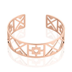 Jonc Acier Rose Ouvert Motifs Geometriques - Bracelets jonc Femme | Marc Orian