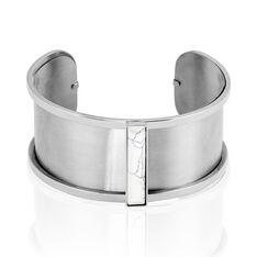 Bracelet Jonc Melvyna Acier Blanc Pierre De Synthese - Bracelets jonc Femme | Marc Orian