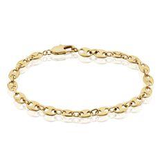 Bracelet William Maille Grain De Cafe Plaque Or Jaune - Bracelets mailles Homme   Marc Orian