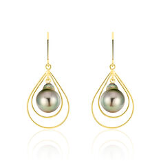Boucles D'oreilles Pendantes Martyna Or Jaune Perle De Tahiti - Boucles d'oreilles Pendantes Femme   Marc Orian