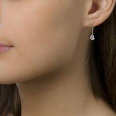 Boucles D'oreilles Pendantes Goutte Or Jaune Oxyde De Zirconium - Boucles d'oreilles Pendantes Femme   Marc Orian