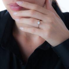 Bague Anne-lea Or Blanc Oxyde De Zirconium - Bagues Solitaire Femme   Marc Orian