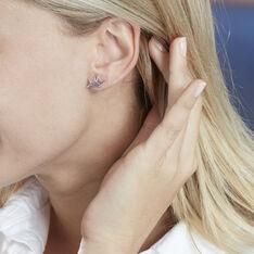 Boucles D'oreilles Puces Origami Argent Blanc - Clous d'oreilles Femme   Marc Orian