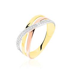 Bague Croisee Or Tricolore Diamant - Bagues Femme | Marc Orian