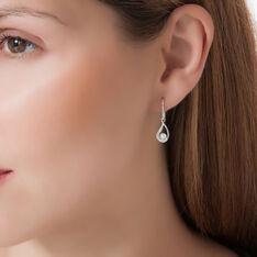Boucles D'oreilles Pendantes Akiko Argent Perle De Culture Et Oxyde - Boucles d'oreilles Pendantes Femme | Marc Orian