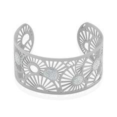 Bracelet Jonc Imagine Florette Strass Acier Blanc Strass - Bracelets jonc Femme | Marc Orian