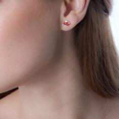 Boucles D'oreilles Puces Petale Or Bicolore Rubis Et Diamant - Clous d'oreilles Femme | Marc Orian