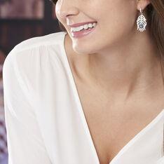 Boucles D'oreilles Pendantes Peacock Argent Blanc Oxyde De Zirconium - Boucles d'oreilles Pendantes Femme | Marc Orian