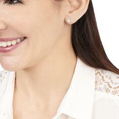 Boucles D'oreilles Puces Edy Serti Clos Or Blanc Topaze - Clous d'oreilles Femme | Marc Orian