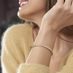 Bracelet Jonc Frieda Plaque Or Jaune Oxyde De Zirconium - Bracelets jonc Femme | Marc Orian