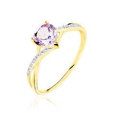 Bague Clothilde Or Jaune Amethyste Et Diamant - Bagues Femme | Marc Orian