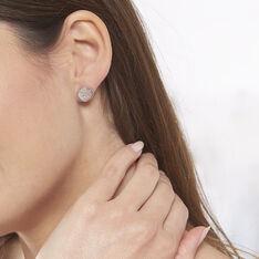 Boucles D'oreilles Puces Rosae Argent Rose Nacre - Clous d'oreilles Femme   Marc Orian
