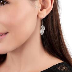 Boucles D'oreilles Argent Rhodie Pendante Feuille - Boucles d'oreilles Pendantes Femme | Marc Orian