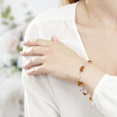 Bracelet Argent Ambre Miel Ovales - Bracelets chaînes Femme | Marc Orian