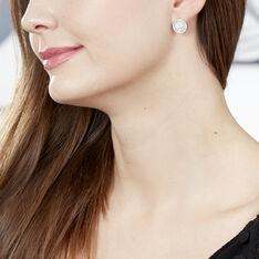 Boucles D'oreilles Puces Pelina Argent Blanc Oxyde De Zirconium Nacre - Clous d'oreilles Femme | Marc Orian