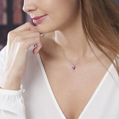 Collier Angie Or Blanc Diamant Et Rubis - Colliers Femme   Marc Orian