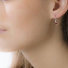 Boucles D'oreilles Pendantes Ayannahae Or Blanc Rubis - Boucles d'oreilles Pendantes Femme | Marc Orian