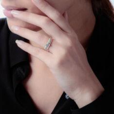Bague Superposition Or Tricolore Diamant - Bagues fiançailles Femme   Marc Orian